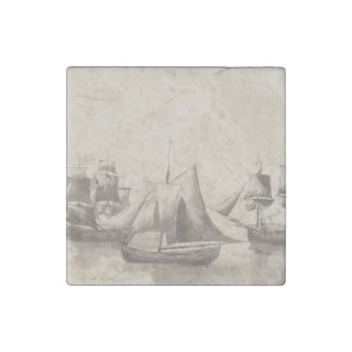 American History - Sailing from Halifax Stone Magnet