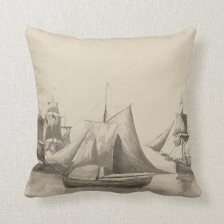 American History - Sailing from Halifax Throw Pillow