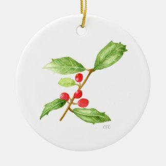 American Holly (Ilex opaca) Ceramic Ornament