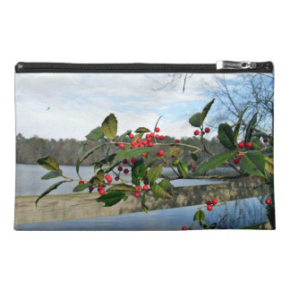 American Holly showing red berries and rigid leaf Travel Accessories Bags