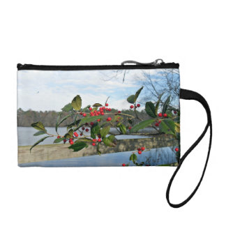 American Holly showing red berries and rigid leaf Coin Purse