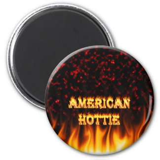 American Hottie fire and flames Red marble. 2 Inch Round Magnet