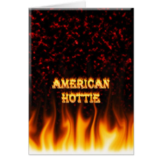 American Hottie fire and flames Red marble Stationery Note Card