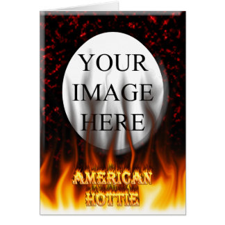 American Hottie fire and flames Red marble Greeting Card