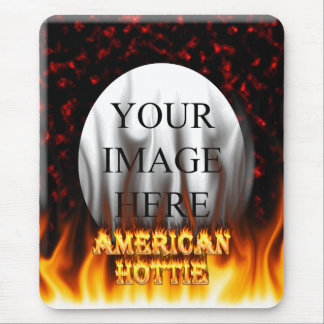 American Hottie fire and flames Red marble. Mouse Pad