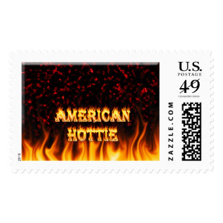 American Hottie fire and flames Red marble Postage