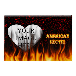 American Hottie fire and flames Red marble Poster