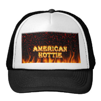 American Hottie fire and flames Red marble Trucker Hat
