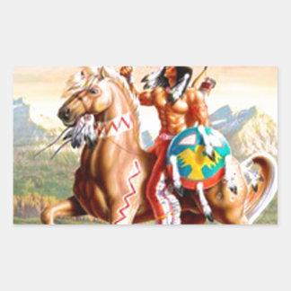 American Indian Brave on Horse Rectangular Sticker