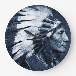 American Indian Chief (Blue) Large Clock