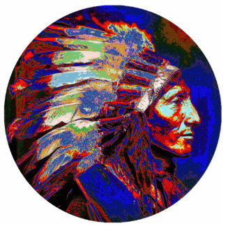 American Indian Chief Graphic Photo Sculpture Magnet