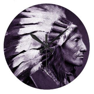 American Indian Chief (Purple) Large Clock