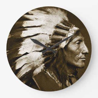 American Indian Chief (Sepia) Large Clock