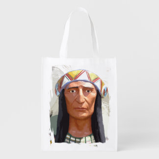 American Indian Chief Reusable Grocery Bags