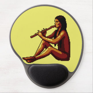 American Indian Flute Player Pixel Gel Mouse Pad