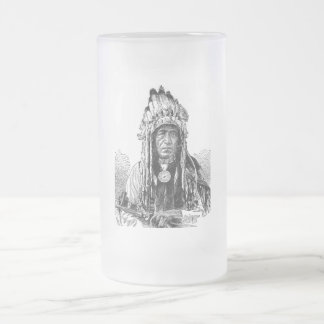 American Indian Frosted Glass Beer Mug