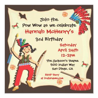 American Indian Girl Birthday Party Invitation