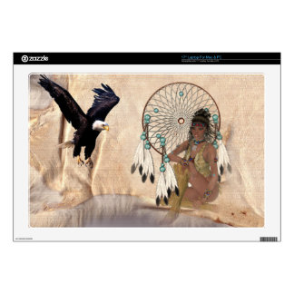 "American Indian Girl with Dream Catcher Laptop Ski Skins For 17"" Laptops"