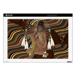 American Indian Girl with Dreamcatcher Laptop Ski Laptop Decals