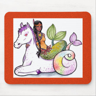 American Indian Mermaid and merhorse Mouse Pad