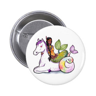 American Indian Mermaid and merhorse Pinback Button