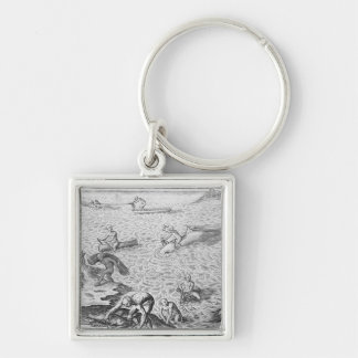 American Indian method of whaling, from an account Keychain