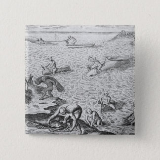 American Indian method of whaling, from an account Pinback Button