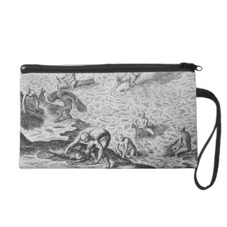 American Indian method of whaling, from an account Wristlet Purse