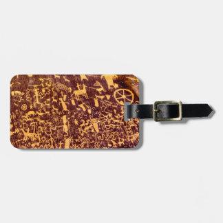 American Indian Newspaper Rock Petroglyph Ancient Bag Tag