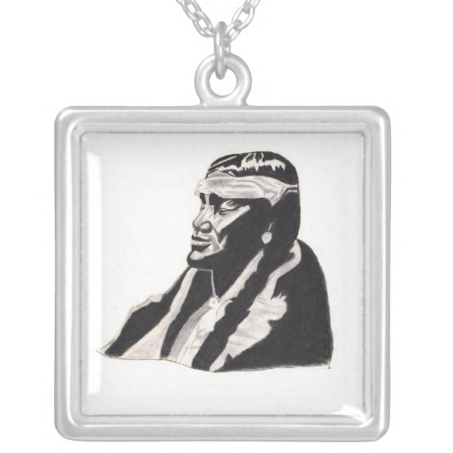 american indian portrait by james lubera square pendant necklace