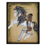 American Indian Princess and Horse Poster