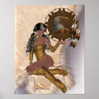 American Indian Princess Eagle Mandala Poster