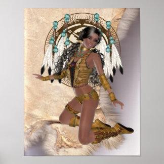 American Indian Princess Mandala Poster