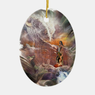 American Indian Wedding Night Vignette Double-Sided Oval Ceramic Christmas Ornament