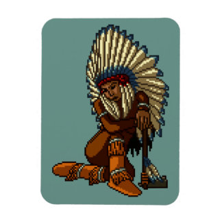 American Indian Woman Feather Tomahawk Pixel Magnet