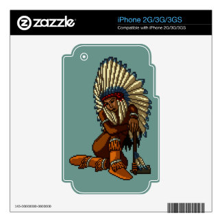 American Indian Woman Feather Tomahawk Pixel Skins For The iPhone 3