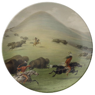 American Indians Hunting Buffalo Dinner Plate
