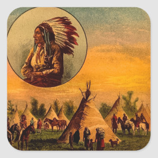 American Indians Vintage Magic Lantern Slide Square Sticker