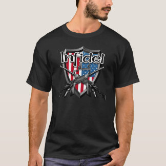 American Infidel: English and Arabic Text AR15 T-Shirt