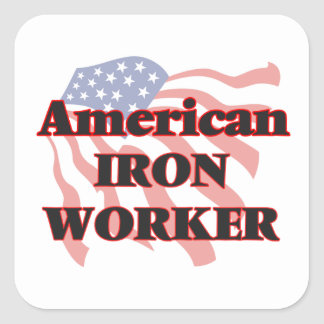 American Iron Worker Square Sticker
