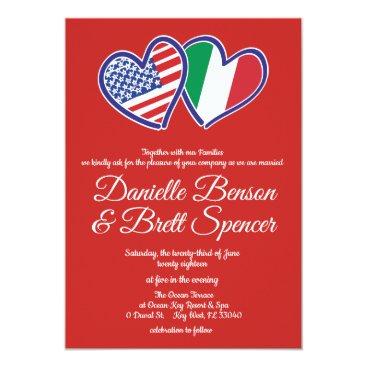 Bride Themed American Italian Love Wedding Invitation