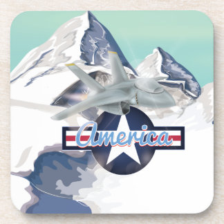American Jet Plane Flying over Rocky Mountains Beverage Coasters