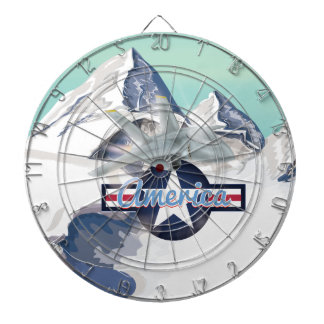 American Jet Plane Flying over Rocky Mountains Dartboards