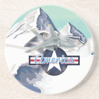 American Jet Plane Flying over Rocky Mountains Drink Coaster