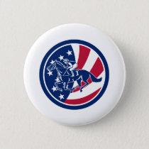 American Jockey Horse Racing USA Flag Icon Button