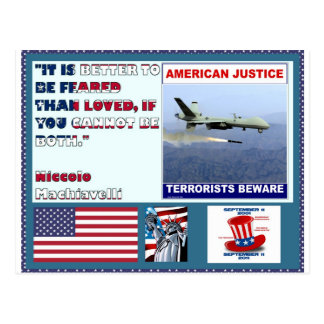 American Justice Airforce Drone Terrorists Beware Postcard