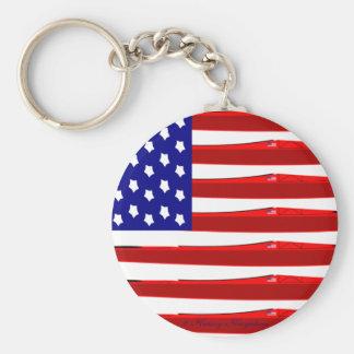 American Kayak Flag Basic Round Button Keychain