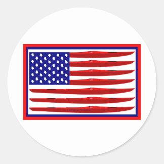 American Kayak Flag Round Sticker
