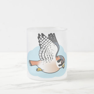 American Kestrel in flight Frosted Glass Coffee Mug