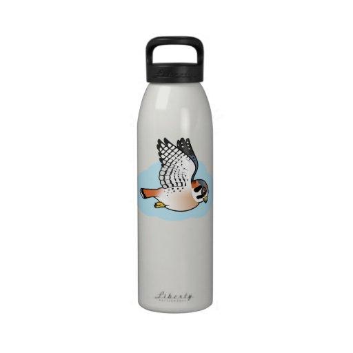 American Kestrel in flight Reusable Water Bottle